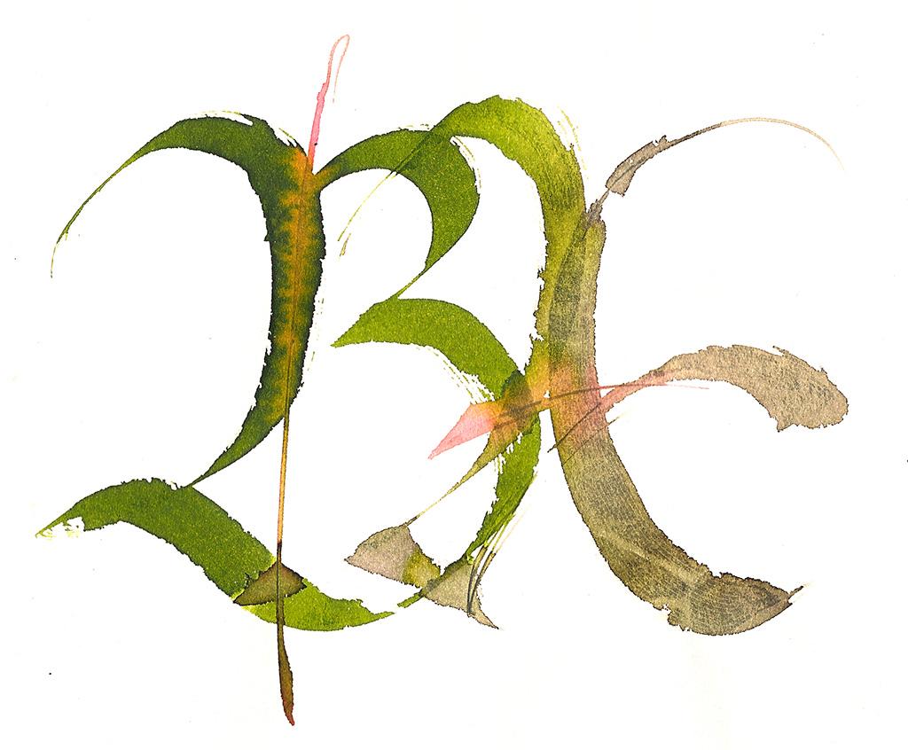 Calligrafia BA monogramma, BA cipher